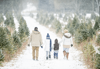 family in snow