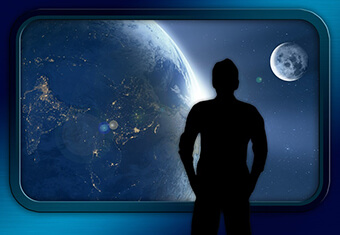 man looks at earth, searches for domicile