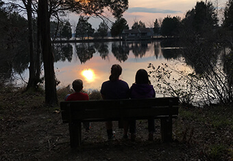 family on bench